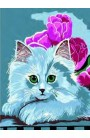 """Embroidery squared Collection """"White kitten"""""""